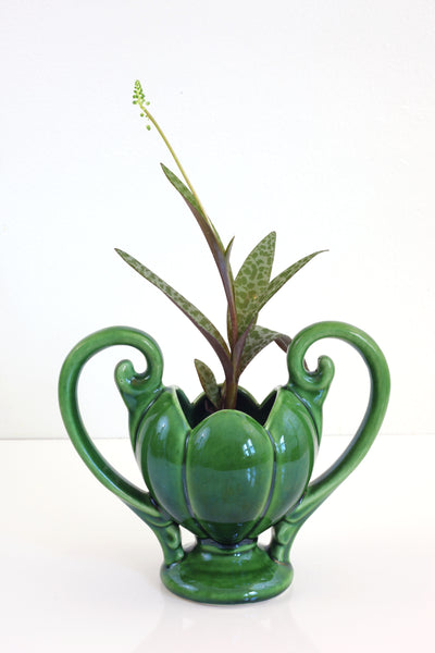 SOLD - Vintage 1930s Emerald Green Camark Double Handled Vase