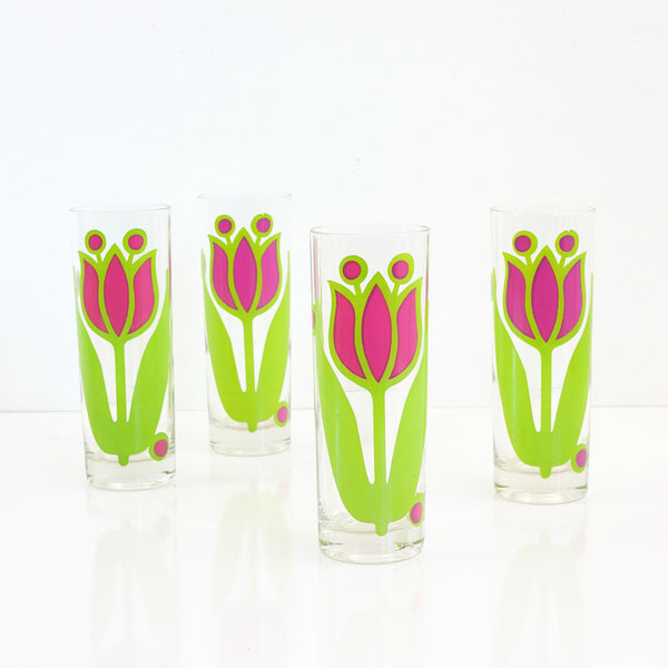SOLD - Vintage Colony Glass Tulip Iced Tea Glasses