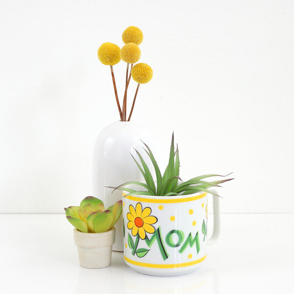 SOLD - Vintage Mom Mug / Retro Yellow Flowers