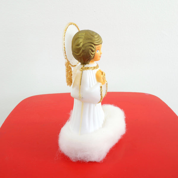 SOLD - Vintage Doubl Glo Glitter Angel Christmas Tree Topper