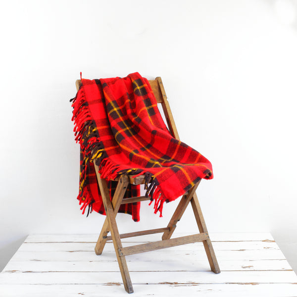Vintage Faribo Plaid Throw Blanket / Red, Yellow & Black