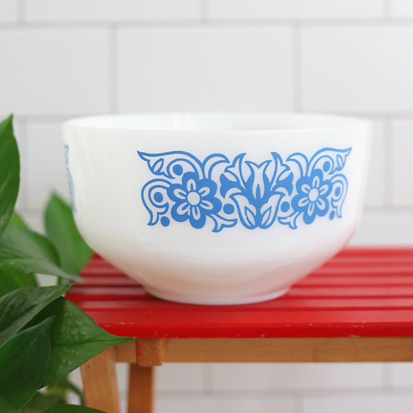 SOLD - Vintage Federal Glass Blue Tulip Flowers Milk Glass Mixing Bowl