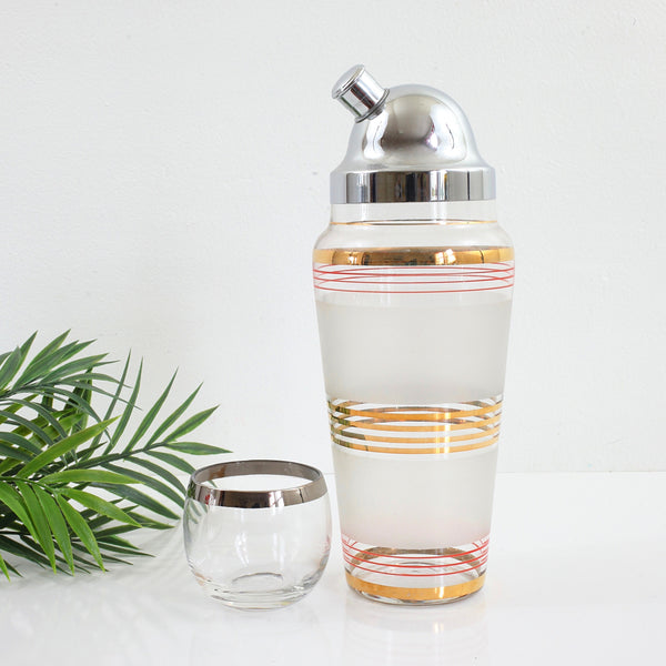 SOLD - Vintage Frosted Red & Gold Striped Cocktail Shaker with Chrome Lid