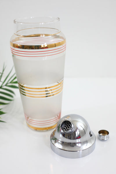 Vintage Frosted Red & Gold Striped Cocktail Shaker with Chrome Lid