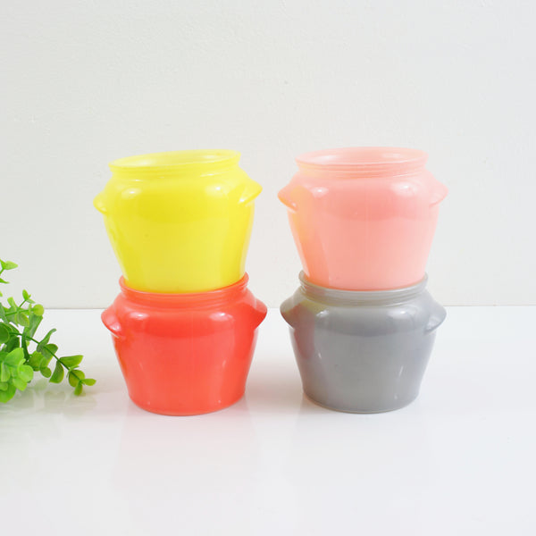 Vintage Collection of Colorful Glasbake Honey Jars