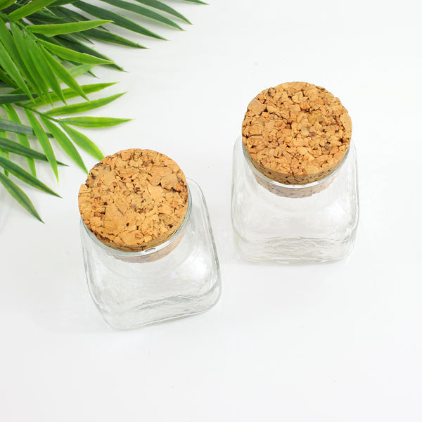 SOLD - Vintage Square Glass Apothecary Jars with Cork Lids
