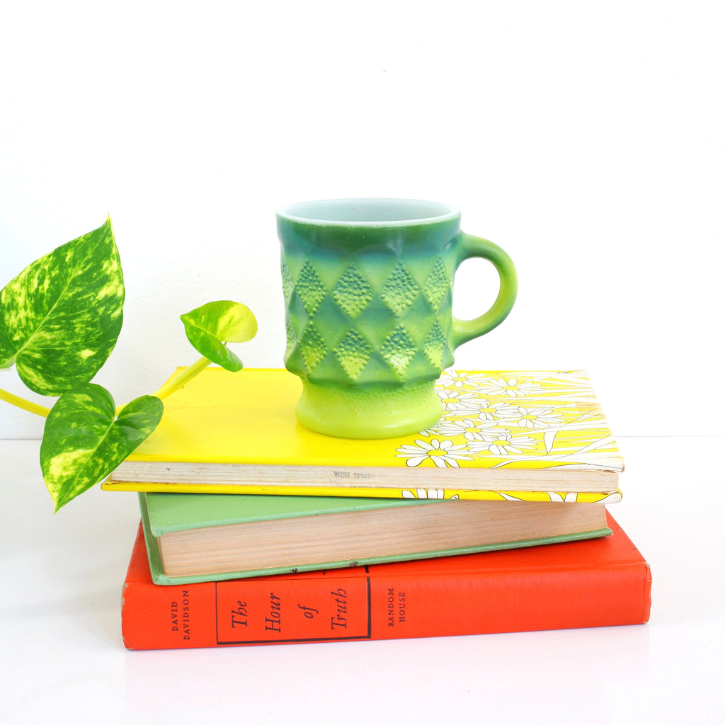 SOLD - Vintage Anchor Hocking Green Ombre Kimberly Milk Glass Mug