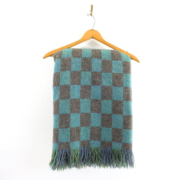 Vintage Bennington Weavers Wool Throw Blanket / Blue, Green, Teal & Gray
