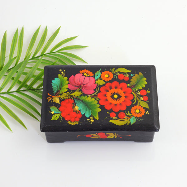 SOLD - Vintage Hand Painted Ukrainian Flower Trinket Box