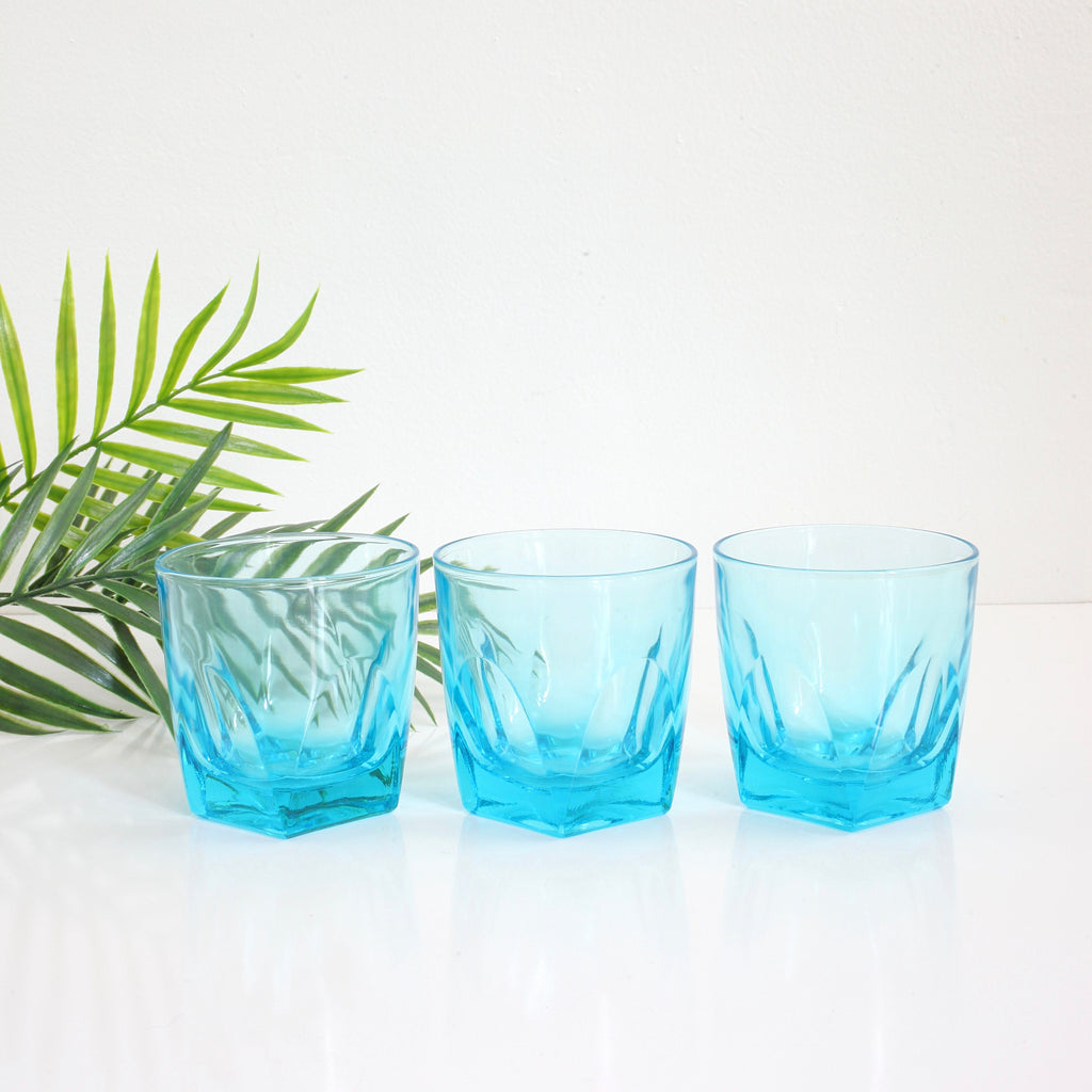 SOLD - Vintage Hazel Atlas Turquoise Capri Gothic Old Fashioned Glasses