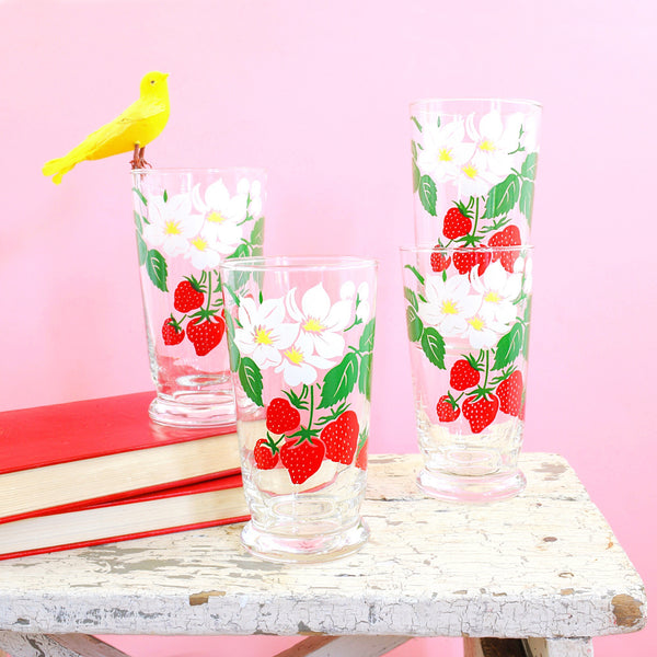 SOLD - Vintage Libbey Strawberry Glasses