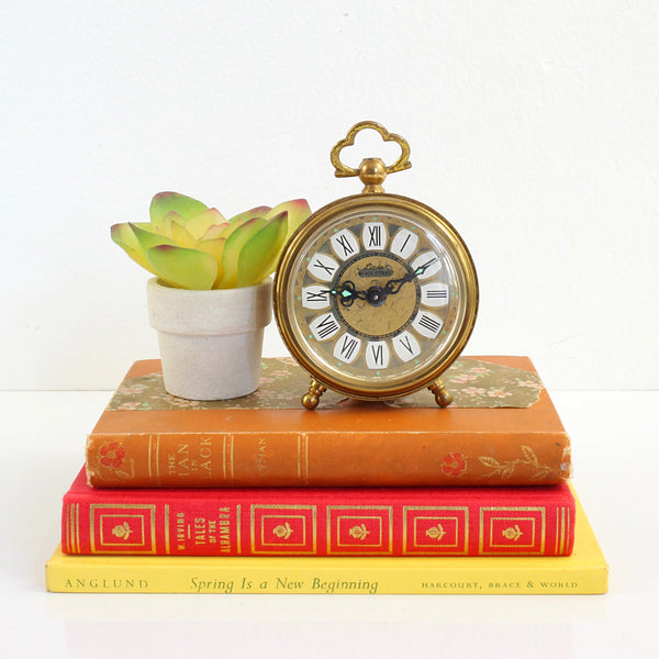SOLD - Vintage Golden Filigree Linden Black Forest Alarm Clock