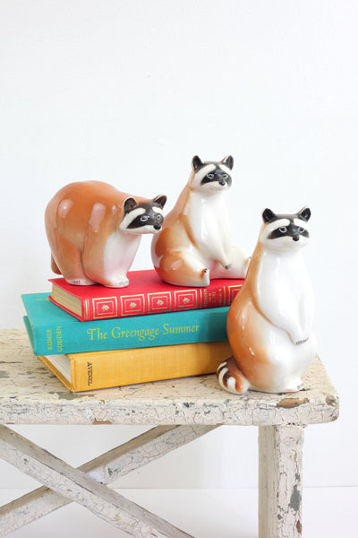 SOLD - Vintage Lomonosov Raccoon Family