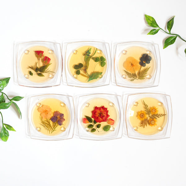 SOLD — Vintage Pressed Flower Drink Coasters