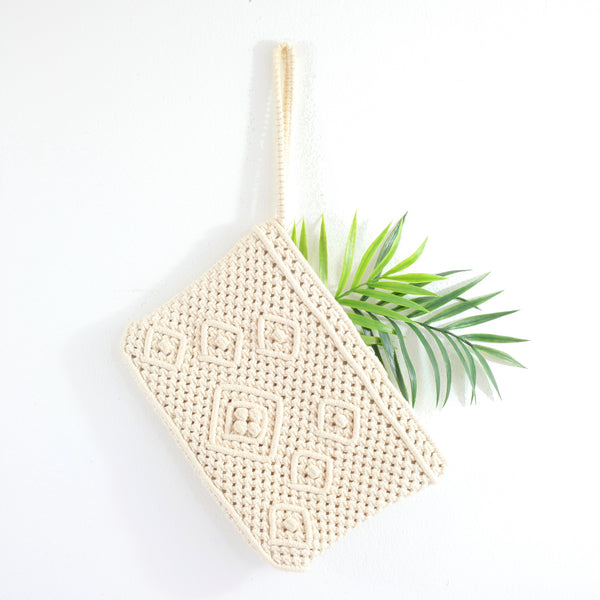 SOLD - Vintage Macrame Wristlet Purse