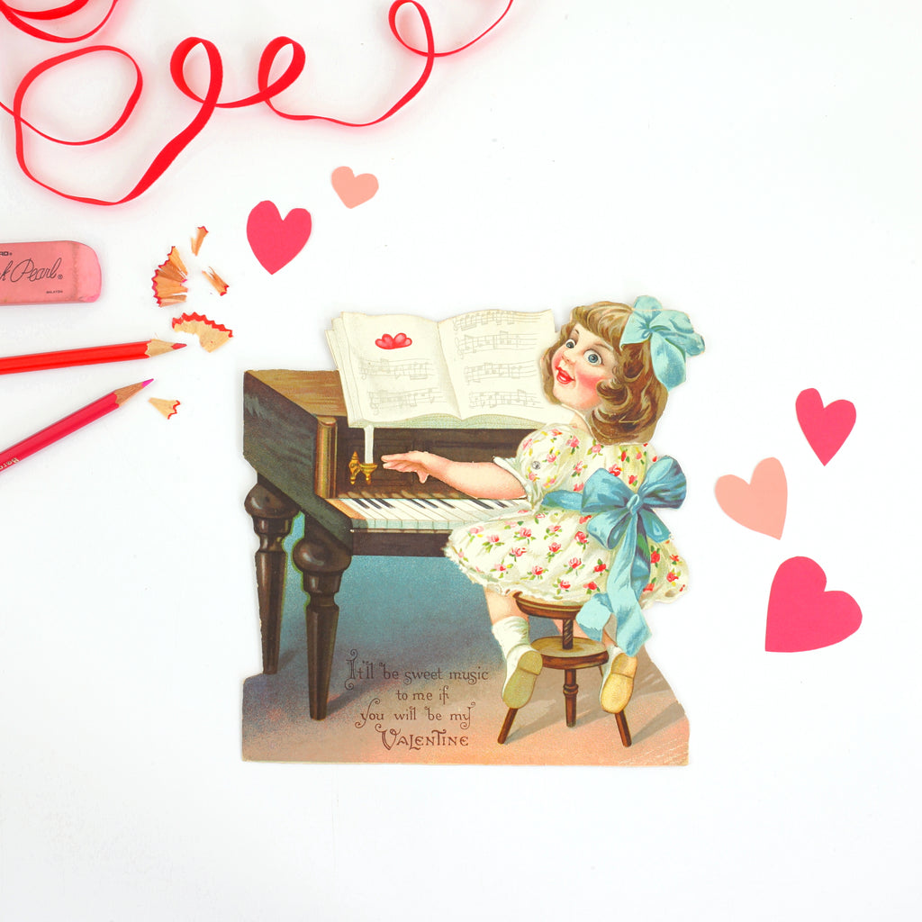 Antique Mechanical Valentine from Germany // Girl Playing Piano