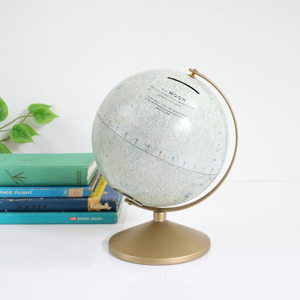 Mid Century Metal Lithograph Moon Globe Bank by Replogle