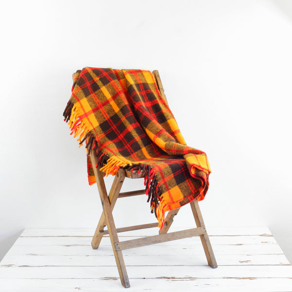 Vintage Plaid Throw Blanket / Yellow, Red & Brown