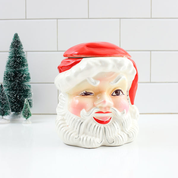 SOLD - Vintage Napco Winking Santa Cookie Jar