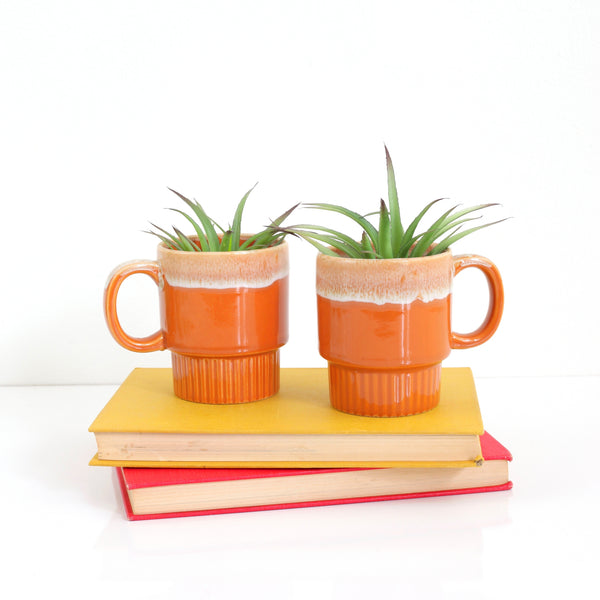 SOLD - Vintage Orange Drip Glaze Stacking Mugs from Japan