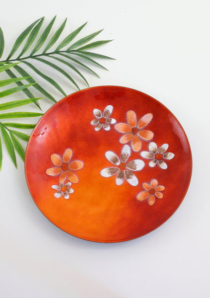 SOLD - Mid Century Modern Enamel Copper Bowl in Orange Flame