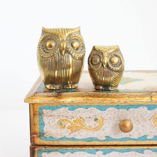 Vintage Pair of Brass Owls