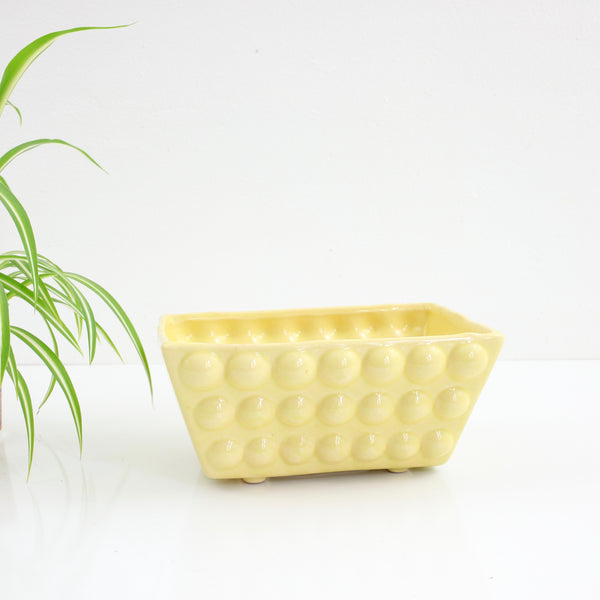 Vintage Bumpy Yellow Ceramic Planter