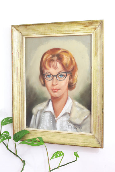 Vintage 1959 Original Pastel Portrait of Woman in Cat Eye Glasses *FREE US Shipping*