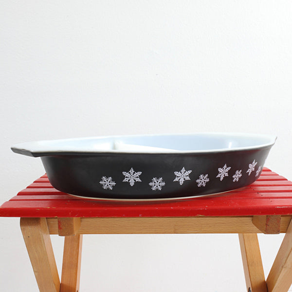 SOLD - Vintage Pyrex Black & White Snowflake Divided Dish