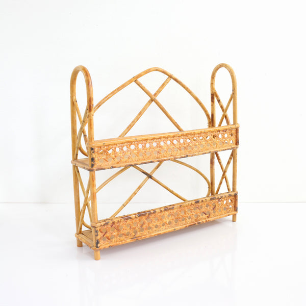 SOLD - Vintage Rattan & Wicker Shelf