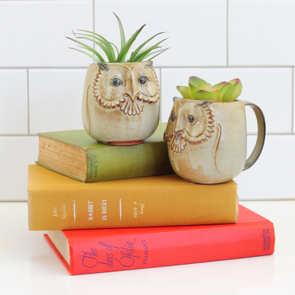 SOLD - Vintage Stoneware Owl Mugs by Gempo