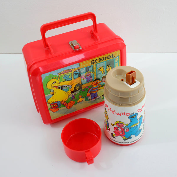 SOLD - Vintage 80s Sesame Street Lunchbox & Thermos