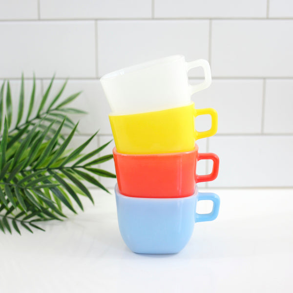 Colorful Vintage Square Lipton Milk Glass Mugs by Glasbake