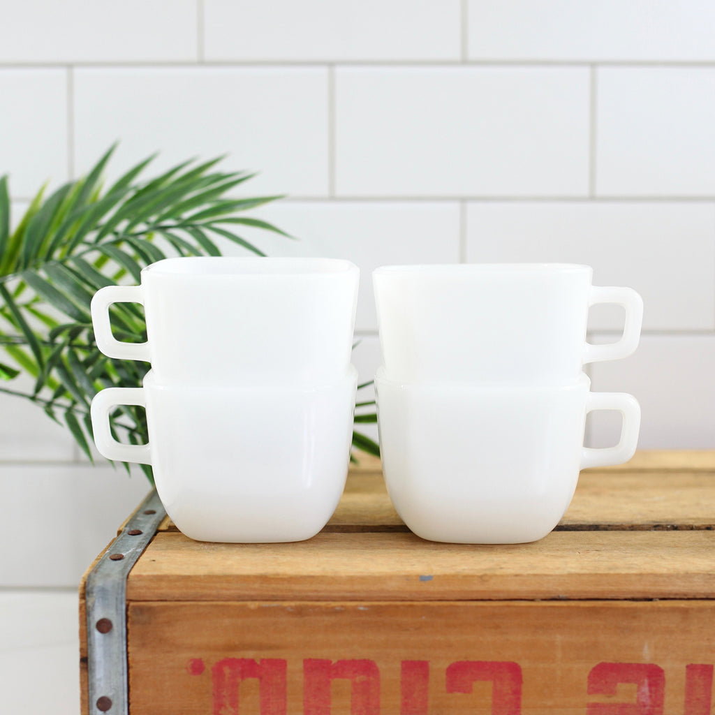 SOLD - Vintage Square White Lipton Milk Glass Mugs by Glasbake