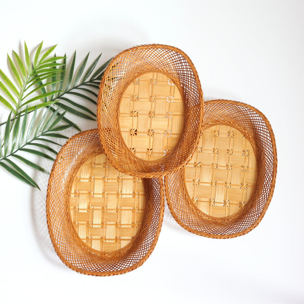 SOLD - Set of Three Vintage Wicker Nesting Baskets