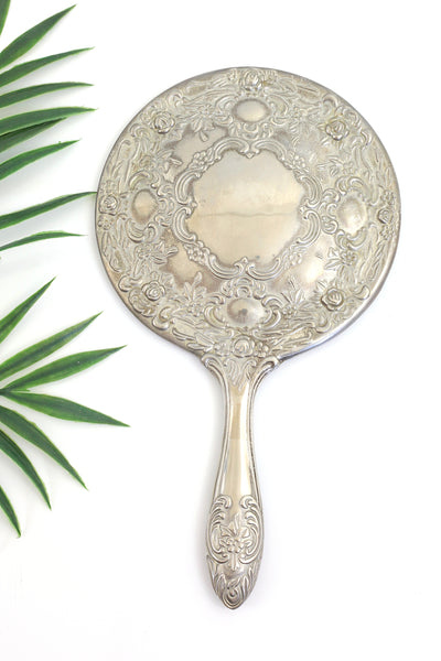 SOLD - Vintage Silver Plated Hand Mirror