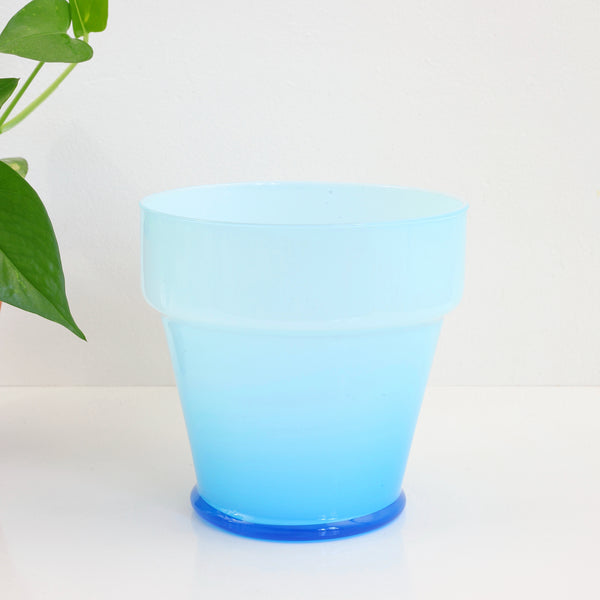 SOLD - Mid Century Sky Blue Cased Glass Planter Pot