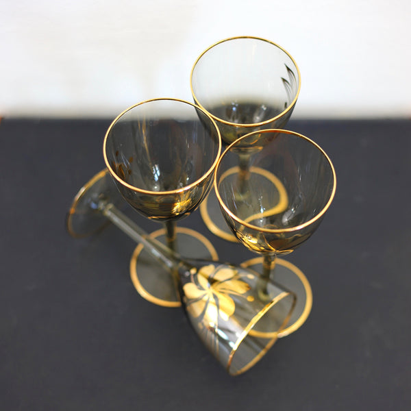 SOLD - Vintage Smoky Amber & Gold Romanian Wine Glasses