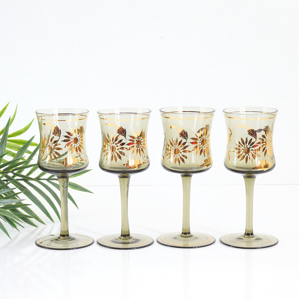 SOLD - Vintage Smoky Amber & Gold Romanian Sunflower Wine Glasses