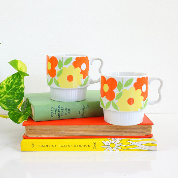 Vintage Stacking Flower Mugs from Japan