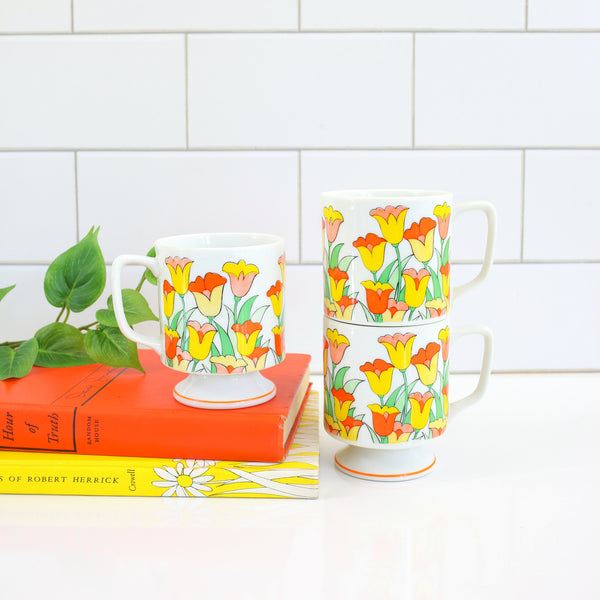 Vintage Stacking Pedestal Tulip Mugs