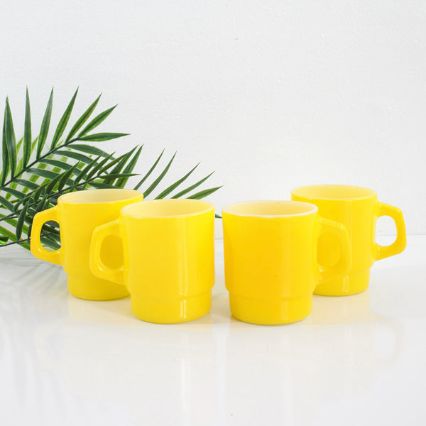 Vintage Yellow Stacking Anchor Hocking Milk Glass Mugs