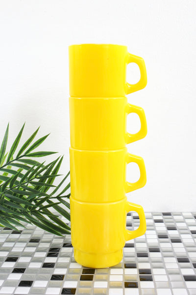SOLD - Vintage Yellow Stacking Anchor Hocking Milk Glass Mugs