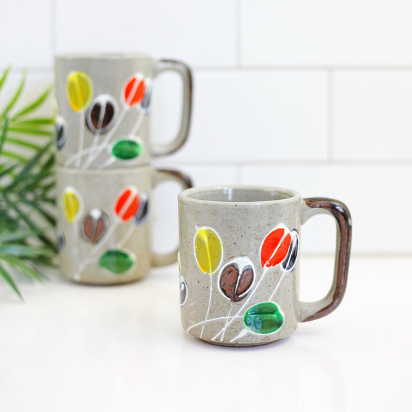 Vintage Stoneware Abstract Flower Mug