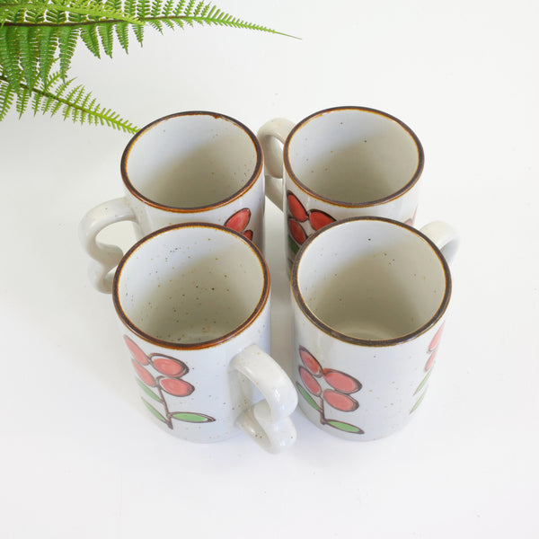 Vintage Stoneware Flower Mugs with Double Handles