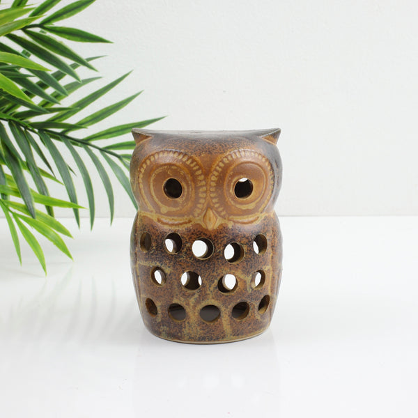 Vintage Stoneware Owl Candle Holder & Incense Burner