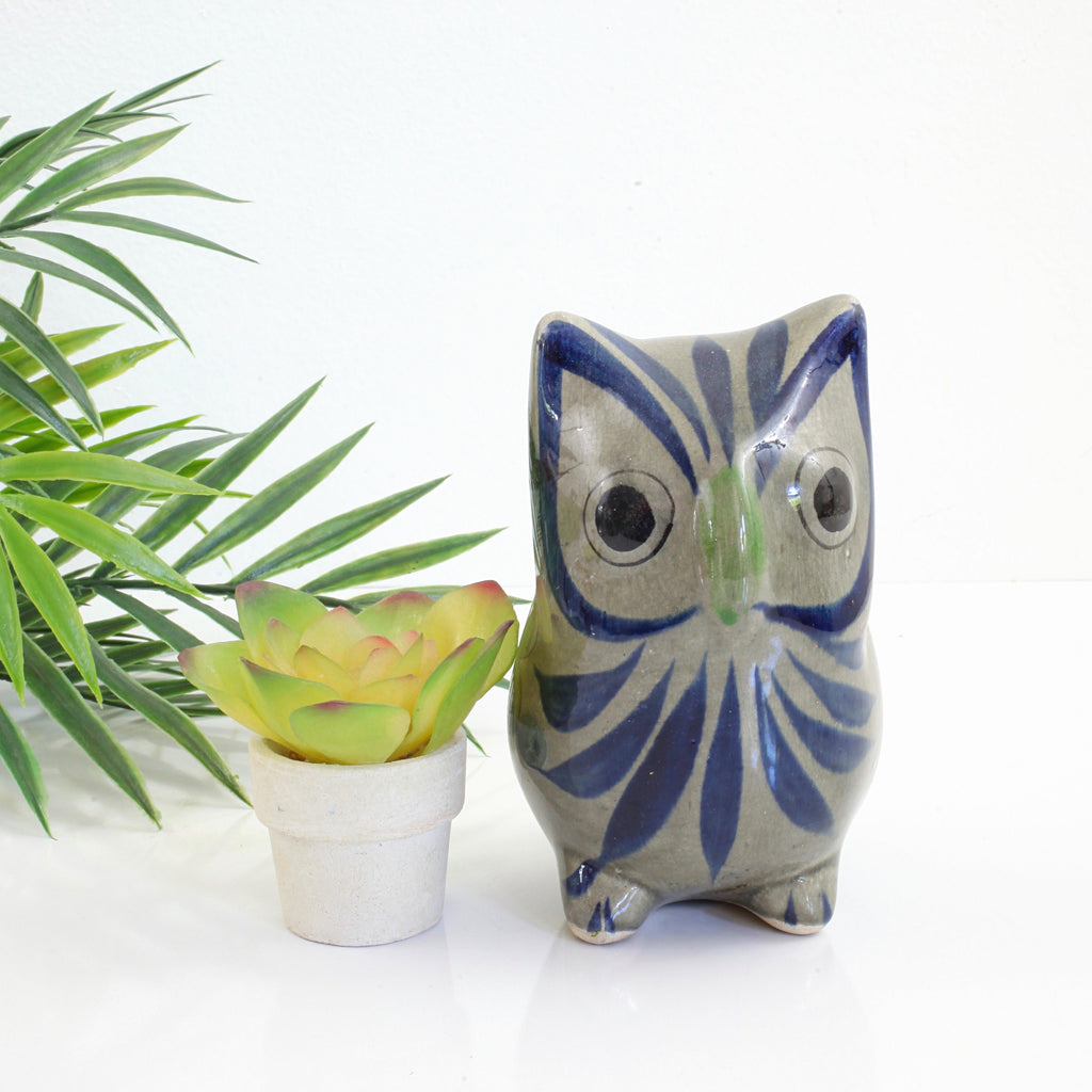 Vintage Tonala Pottery Owl from Mexico