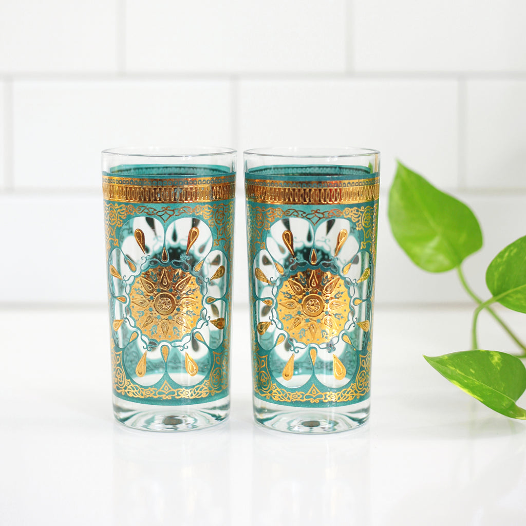 SOLD - Mid Century Modern Turquoise & 22k Gold Medallion Glasses