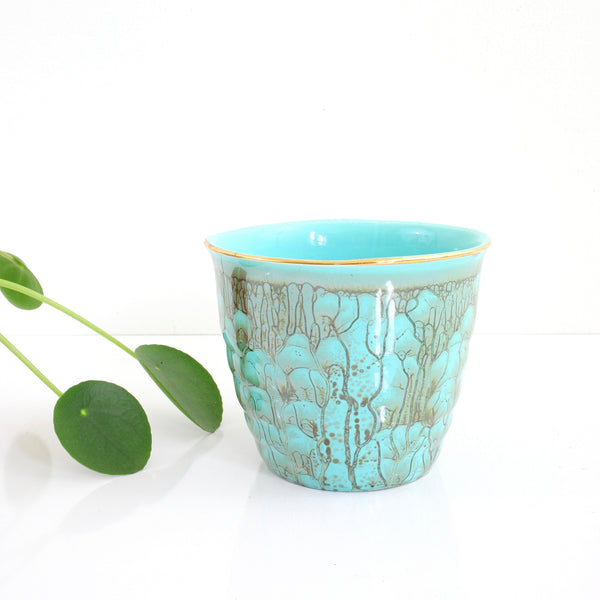 SOLD - Vintage Turquoise Drip Glaze Planter from Holland