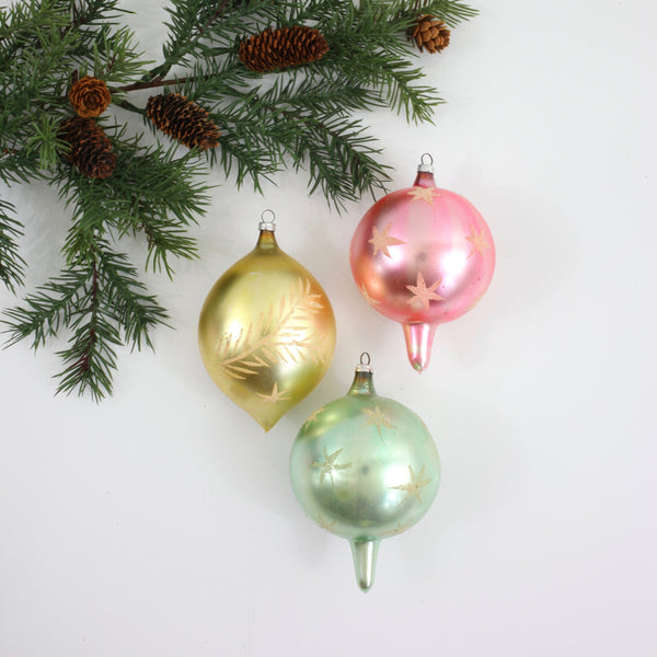 SOLD - Mid Century Pastel Indent Mercury Glass Ornaments